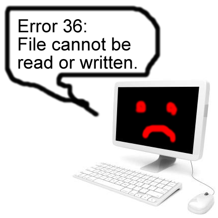 "Computer saying ""Error 36: File cannot be read or written."""