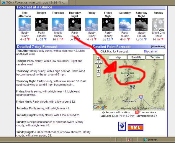 screen capture of forecast map